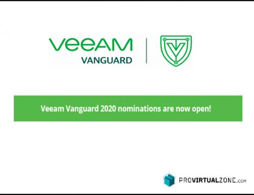 Veeam Vanguard 2020 nominations are now Open