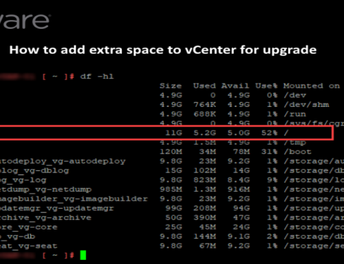 How to add extra space to vCenter for the upgrade
