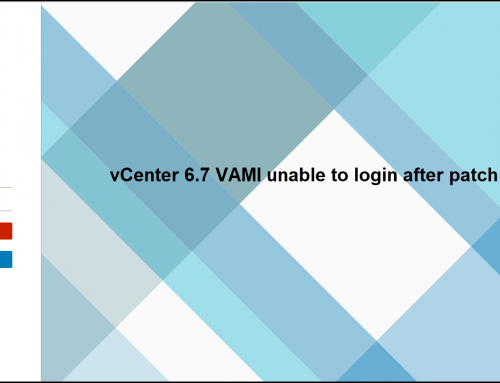 vCenter 6.7 VAMI unable to login after patch 3i