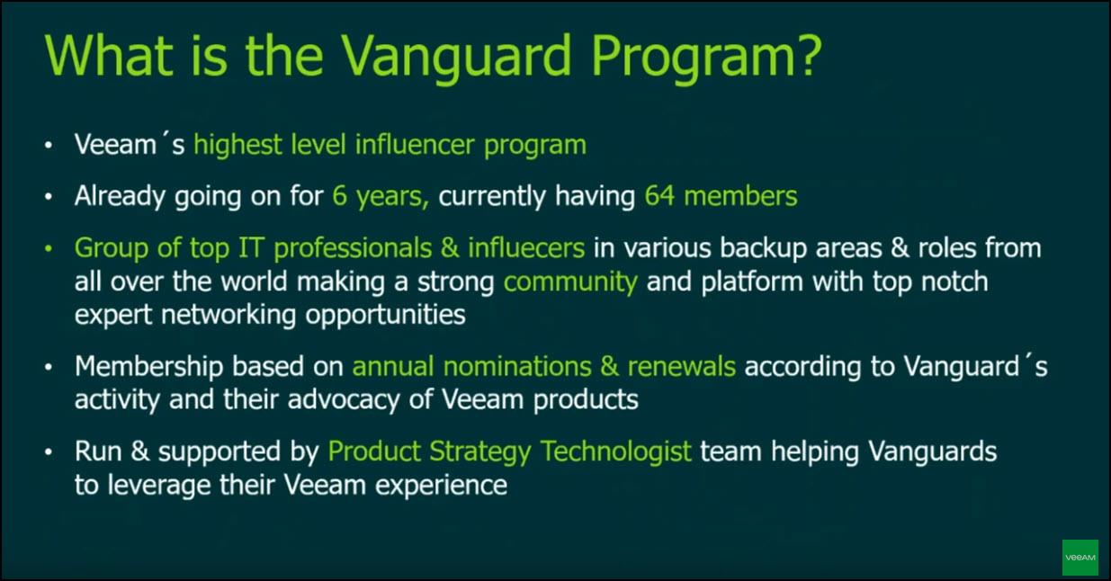 Veeam Vanguard 2021 nominations are now Open